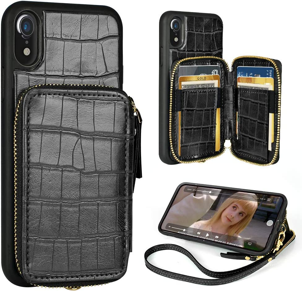 iPhone XR wallet case,iPhone xr Leather Case with Credit Card Holder Slot Zipper Pocket Purse Handbag with Wrist Strap Protective Case Cover for Apple iphone XR,6.1 inch - Crocodile Skin Pattern Black
