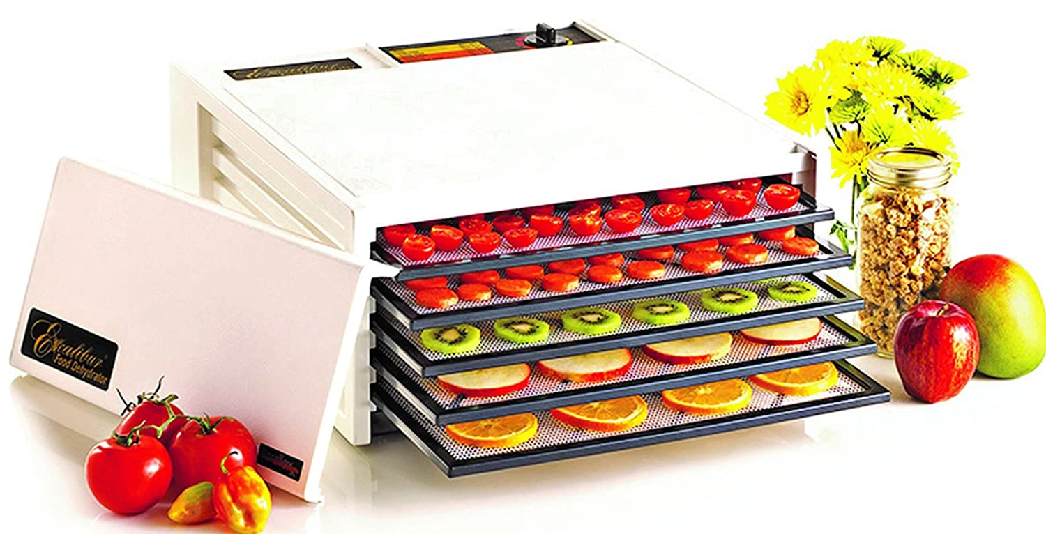 Excalibur EXD500W 5-Tray Electric Food Dehydrator with Adjustable Thermostat Accurate Temperature Control Faster and Efficient Drying Made in USA, Medium