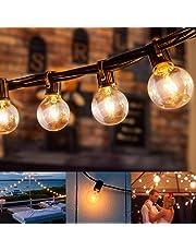 Guirlande Lumineuse Exterieur avec 25 G40 Ampoule Blanc Chaud, 7.62 Mètres Câble, Décoration Intérieur et Extérieur, Halloween, Noël, Mariage