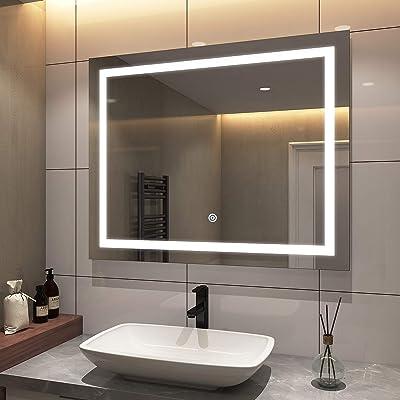 Buy Emke 40 X 32 Inch Led Bathroom Mirrors For Wall Dimmable Large Bathroom Mirrors For Vanity With Lights Brightness Memory Superslim Ip44 Waterproof Ul Listed Online In Turkey B08gppgm1z