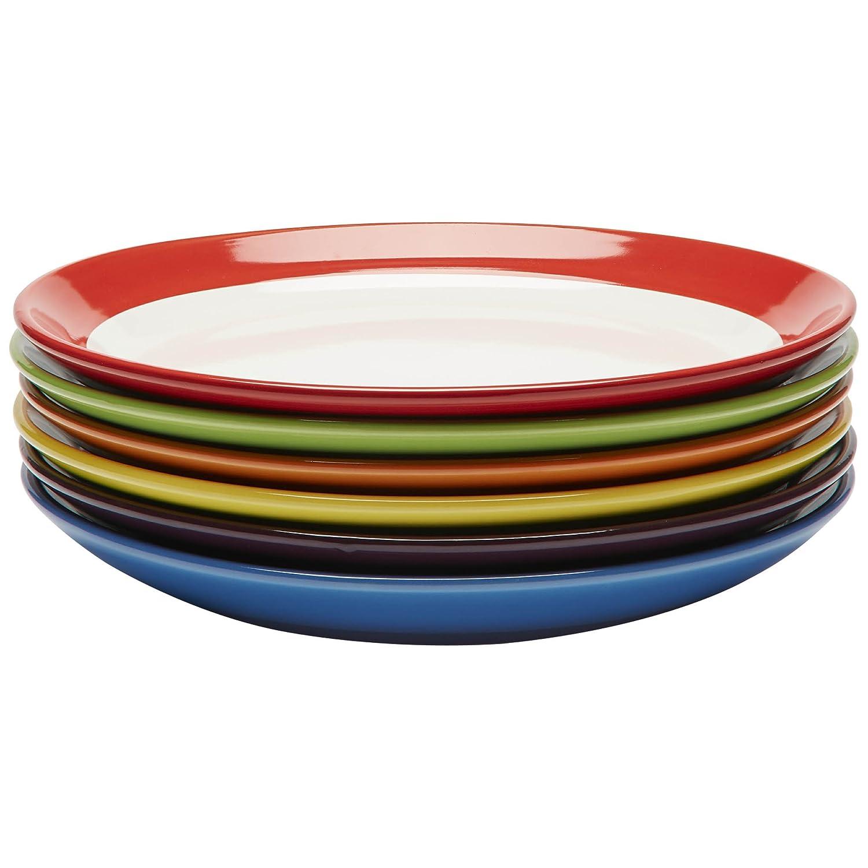 Juego de 6 platos de cerámica de gran calidad, coloridos