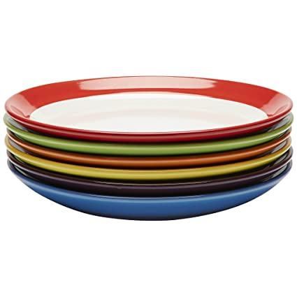 Charmant Amazon.com | Premium Ceramic Set Of 6, Colorful Meal Stoneware (Dinner  Plates): Dinnerware Sets