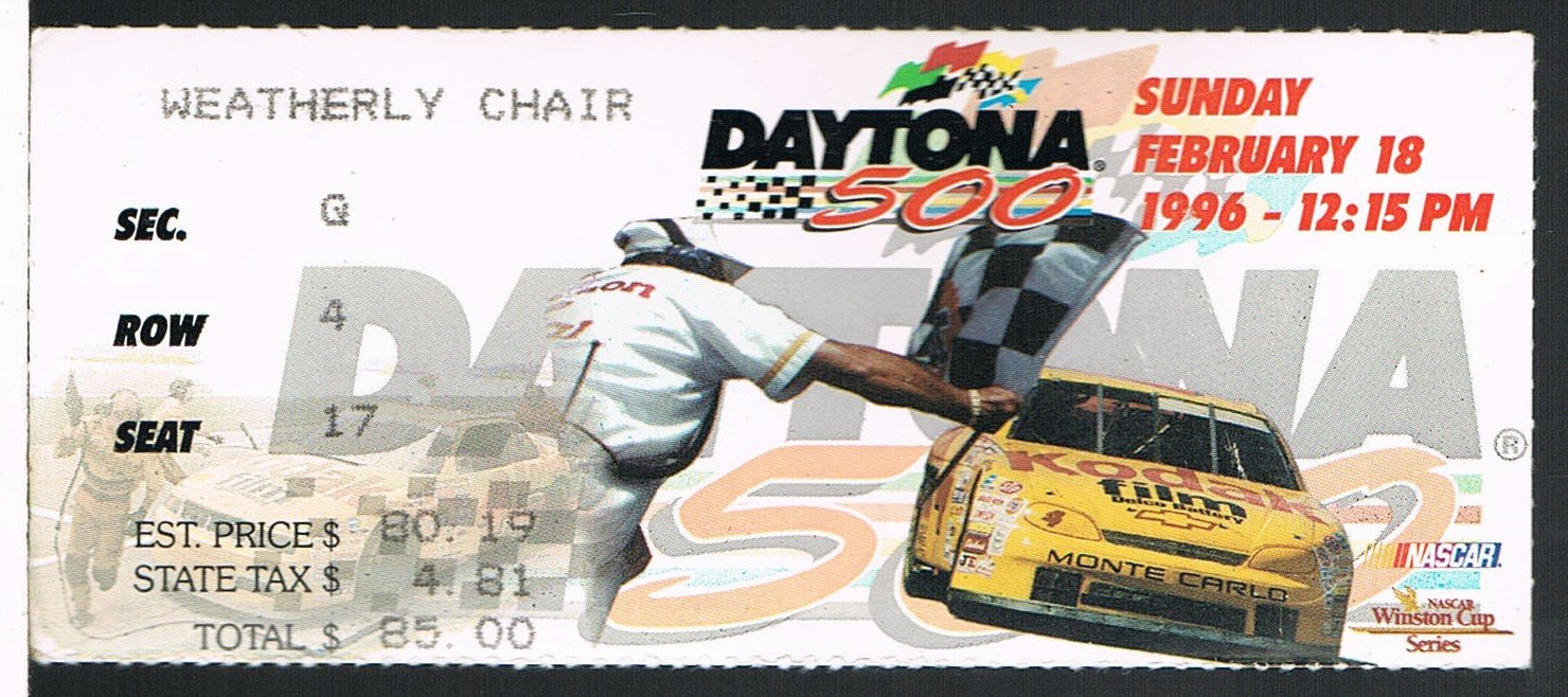 1996 Daytona 500 NASCAR Ticket Stub