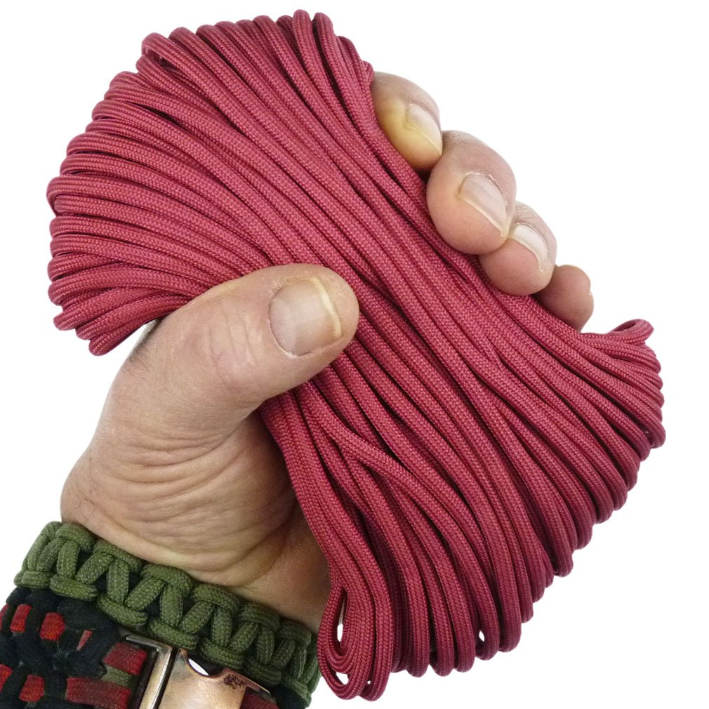 MilSpec Paracord Cranberry Red 310 ft. Spool, Military Survival Braided Parachute 550 Cord. Use with Paracord Tools for Tent Camping, Hiking, Hunting Ropes, Bracelets & Projects. Plus 2 eBooks. by Paracord 550 Mil-Spec (TM) (Image #1)
