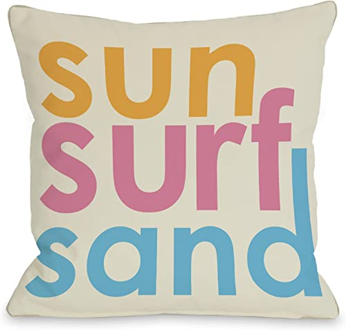 One Bella Casa Sun Surf Sand Throw Pillow by OBC, 26 x 26 , Multi