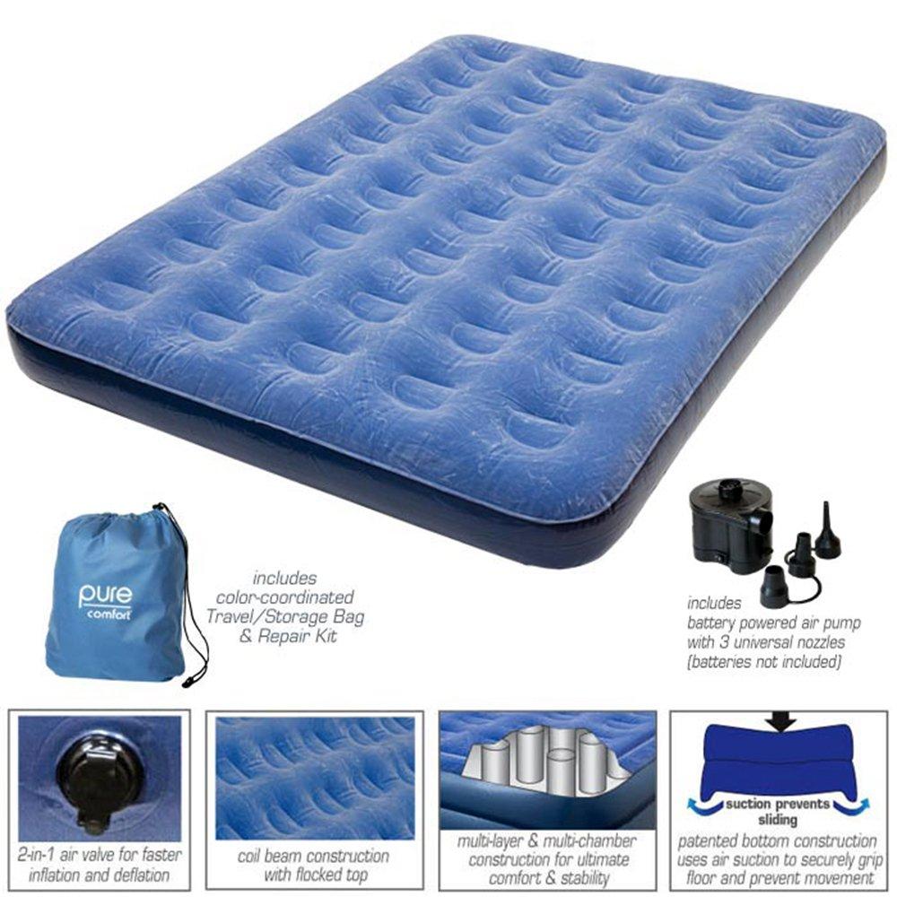 PURE COMFORT colchón de Aire Inflable: Perfil Bajo Cama con Bomba de Aire Externo, Azul: Amazon.es: Deportes y aire libre