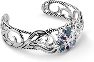 product image for Carolyn Pollack Sterling Silver Opal Triplet, Purple Amethyst and Blue Topaz Gemstone Butterfly Cuff Bracelet Size S, M or L