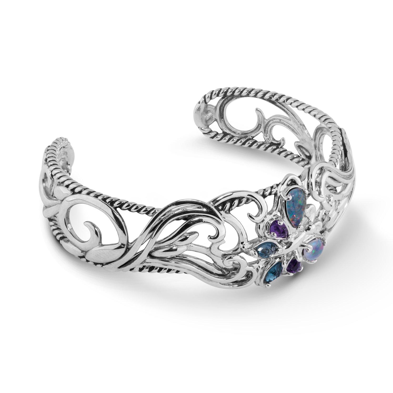 Carolyn Pollack Sterling Silver & Multi Gemstone Butterfly Cuff Bracelet