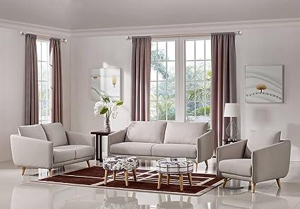Amazon.com: Divani Casa Dakota Modern Beige Fabric Sofa Set ...