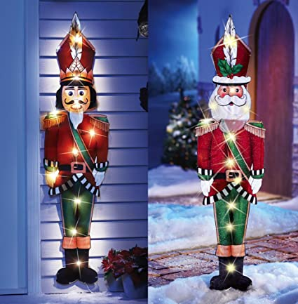knlstore set of two 44 christmas decor lighted santa claus and nutcracker toy soldier holiday