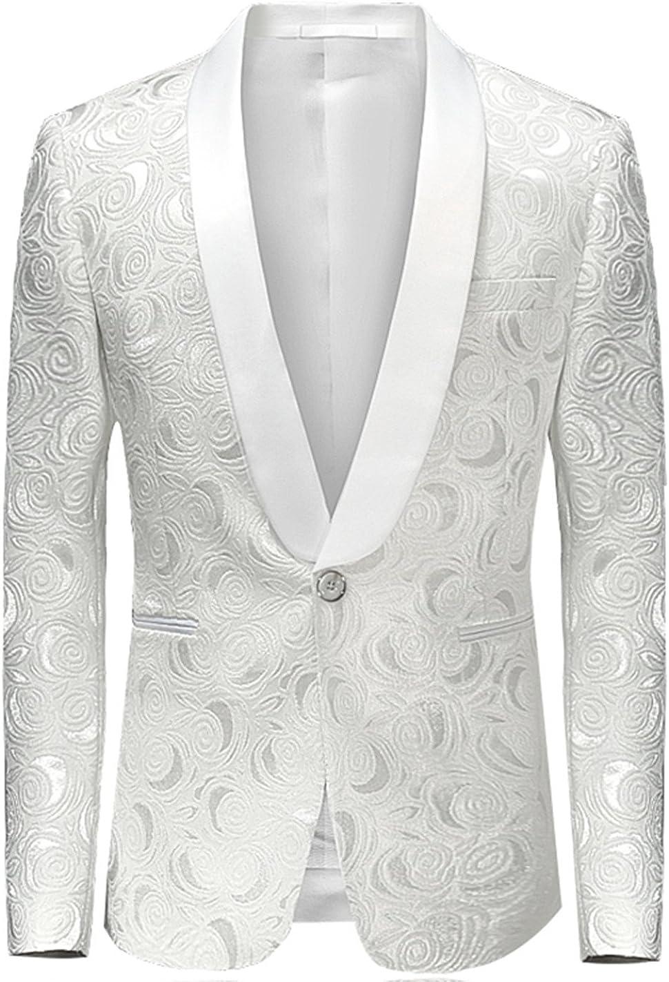 MOGU Mens Blazer Slim Fit Suit Jacket White Floral Jacquard Material