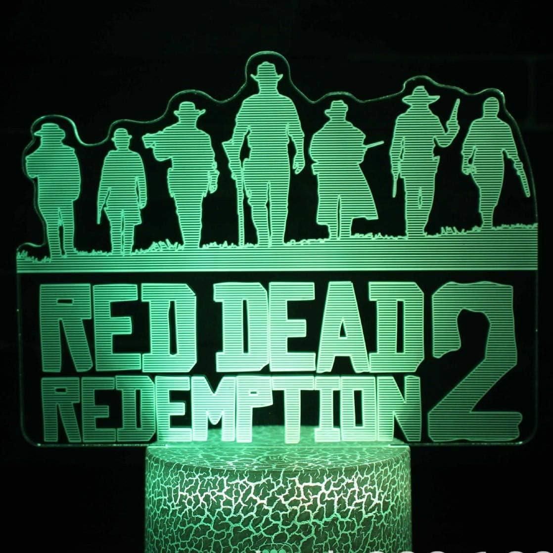 Juego Red Dead Redemption 2 novedad luz de noche regalo para niños accesorios de decoración del hogar holandés Van Der Linde lámpara de mesa decoración de dormitorio