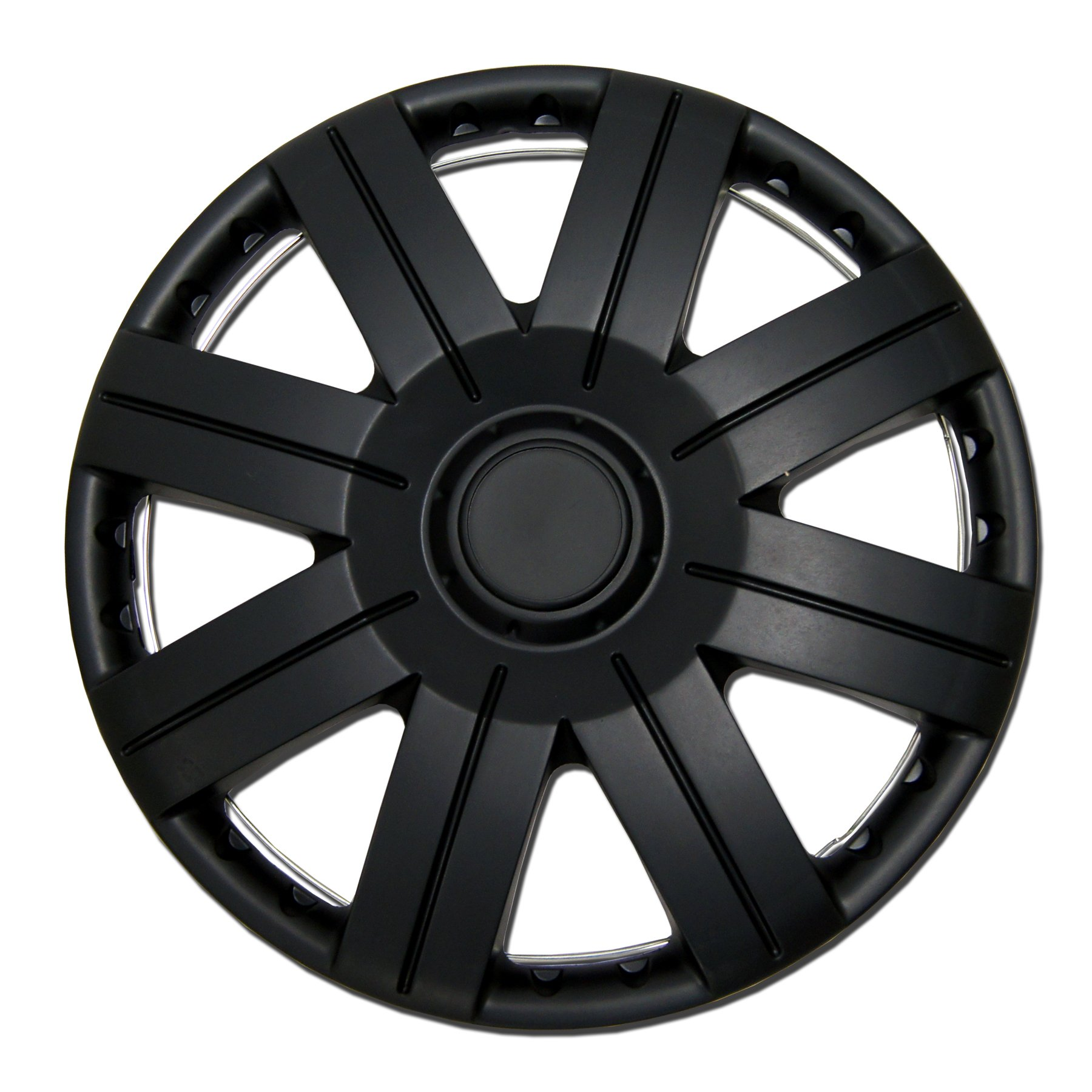 TuningPros WSC-613B15 Hubcaps Wheel Skin Cover 15-Inches Matte Black Set of 4 by TuningPros (Image #1)
