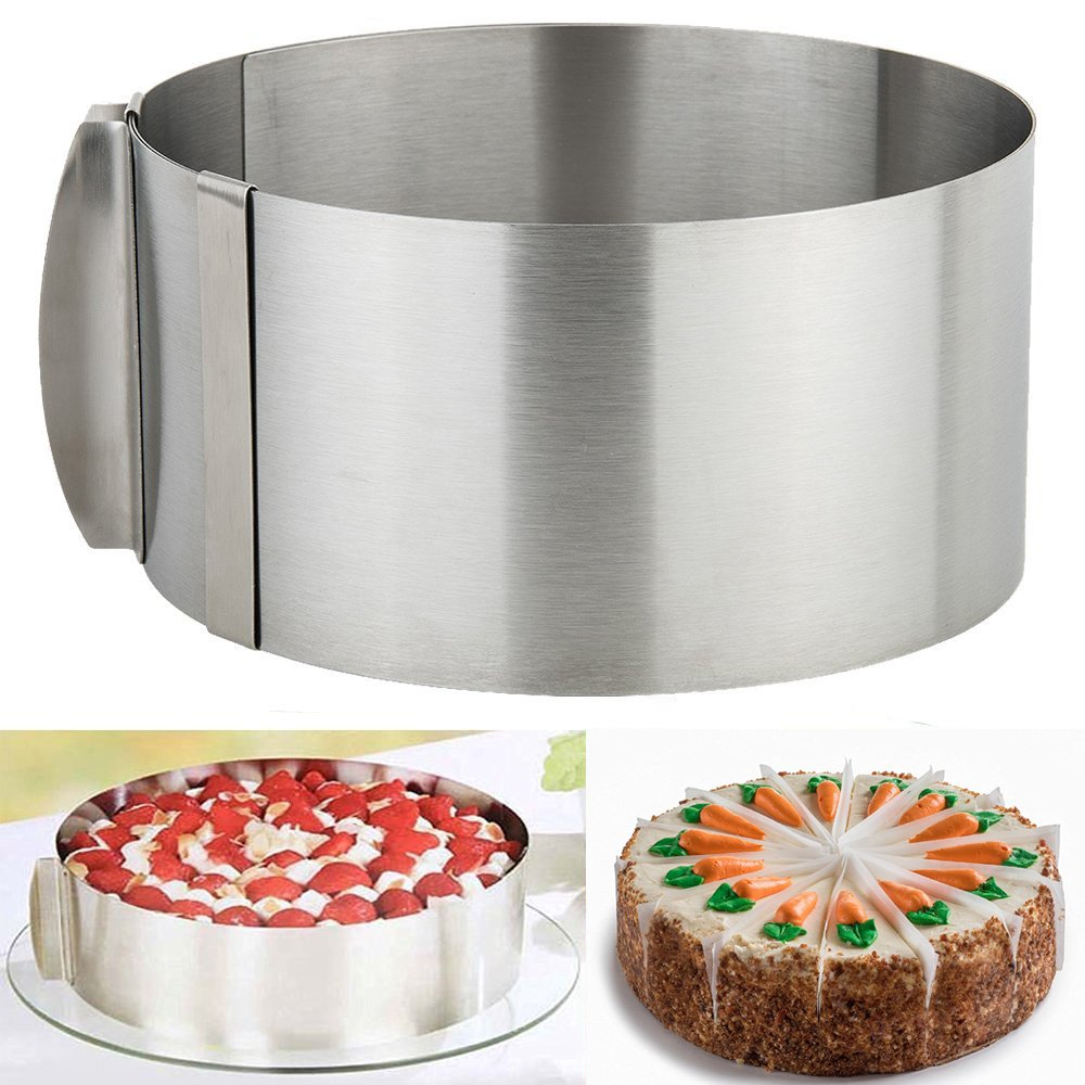 OPACC Stainless Steel 6 to 12 Inch Adjustable Round Baking Cake Mould Cake Adjustable Mousse Cake Mold