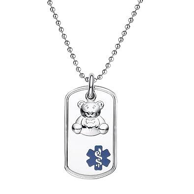 Divoti Custom Engraved 316L Teddy Bear Charm Medical Alert Necklace -Dog  Tag -24
