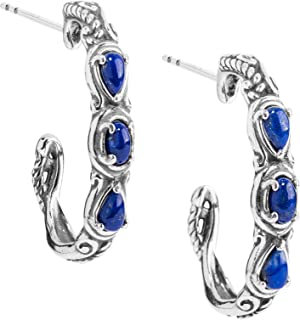 product image for Carolyn Pollack Sterling Silver Gemstone 3 Stone Hoop Earrings - Choice of Gemstone