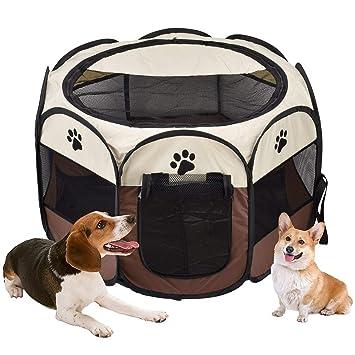 Doukedge Parque Plegable portátil para Mascotas, para Ejercicio, 8 Paneles, Cubierta de Malla