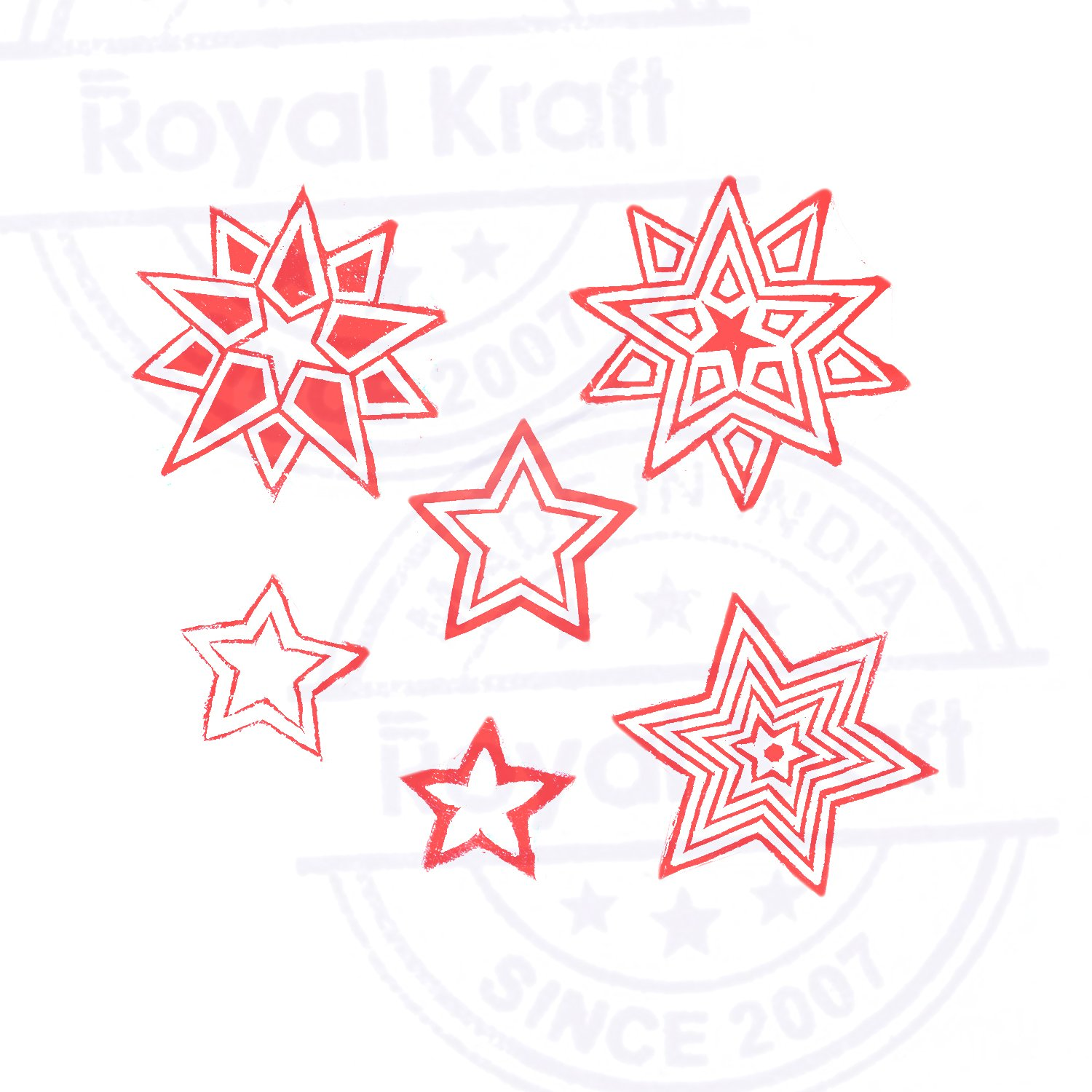 Set of 6 Royal Kraft Star Design Printing Blocks Textile Block Prints to Make Henna Tattoos Scrapbook /& Clay Projects
