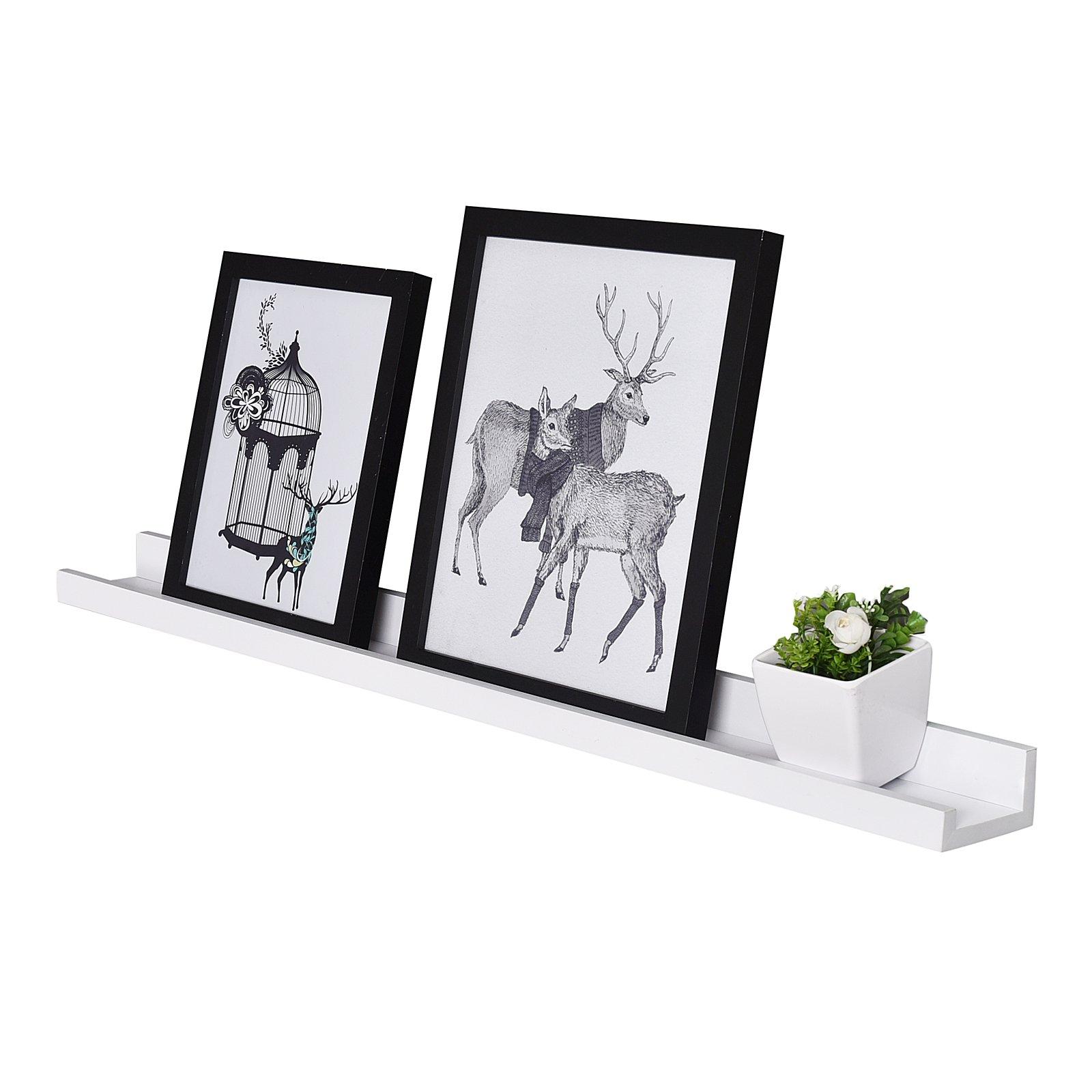 WELLAND Vista Floating Picture Ledge Display Wall Shelf, 48-inch, White