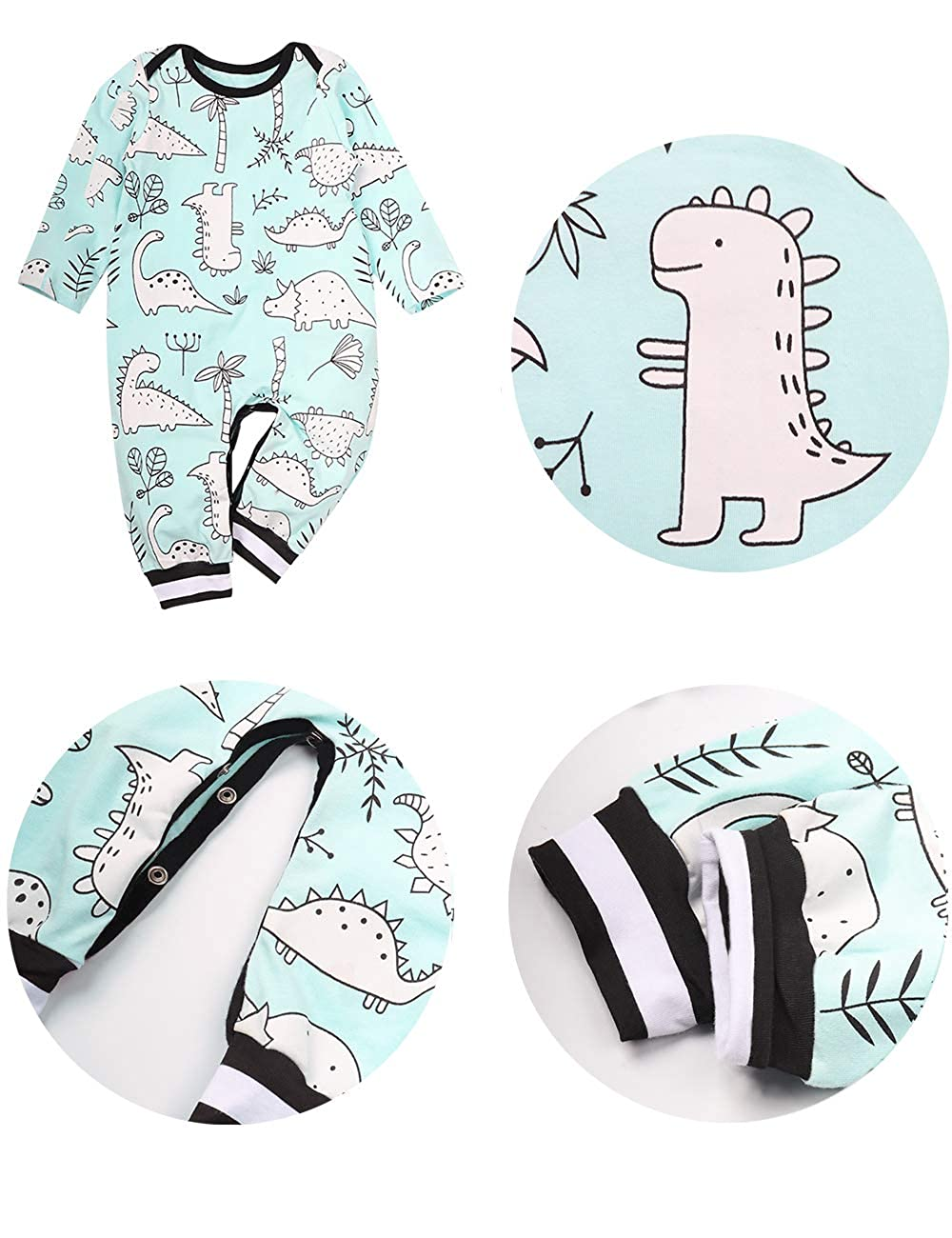 Newborn Baby Boy Girl Clothes Long Sleeve Romper Dinosaur Print Bodysuit One Piece Jumpsuit with Hat