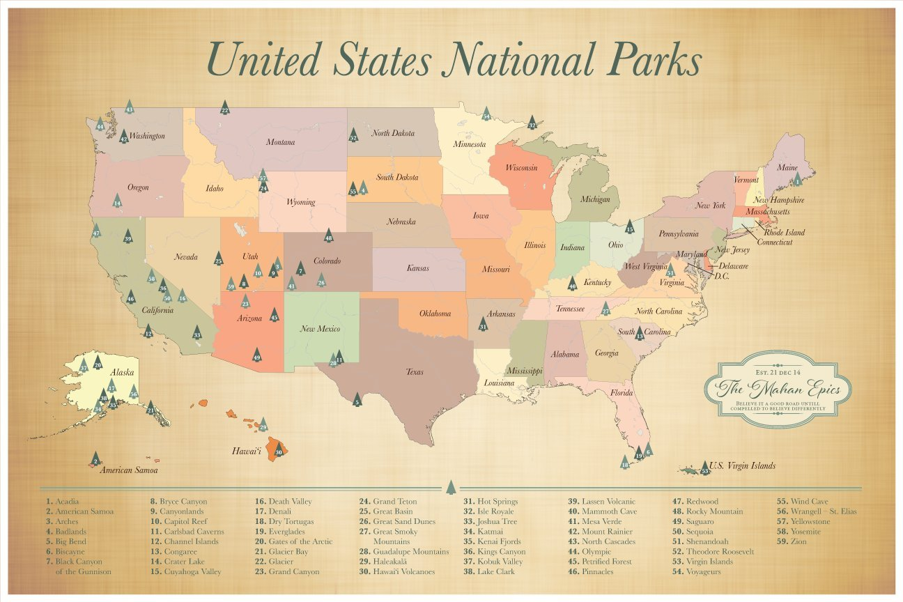 US National Parks Push Pin Map, Personalized Push Pin Map with 59 US National Parks, Adventure Awaits, 24 x 36 inch map with 100 map pins