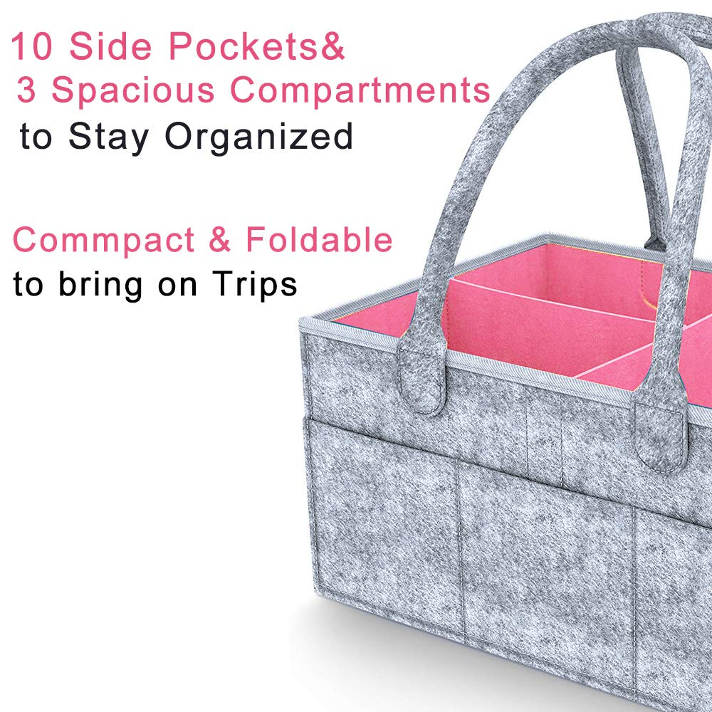Baby Diaper Caddy Organizer Baby Shower Gift Basket Nursery Storage Bin Tote Changing Table Infant Gift Bag Cute for Boys Girls Travel Car Organizer Newborn Registry Must Haves Portable by Outee
