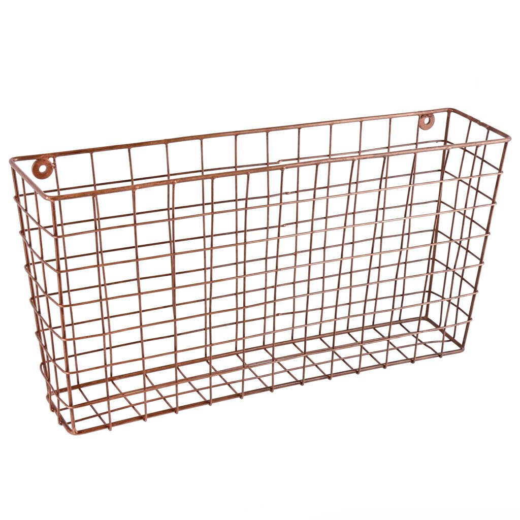 Dibor Large Free Standing Copper Wire Newspaper and Magazine Storage Organiser Basket