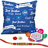Indigifts Indibni MicroSatin, Fibre, Cotton Best Bhaiya True Bond Quote Printed Cushion Cover with Filler, 12x12-inch (Blue Yellow, IDSCOMAF822)