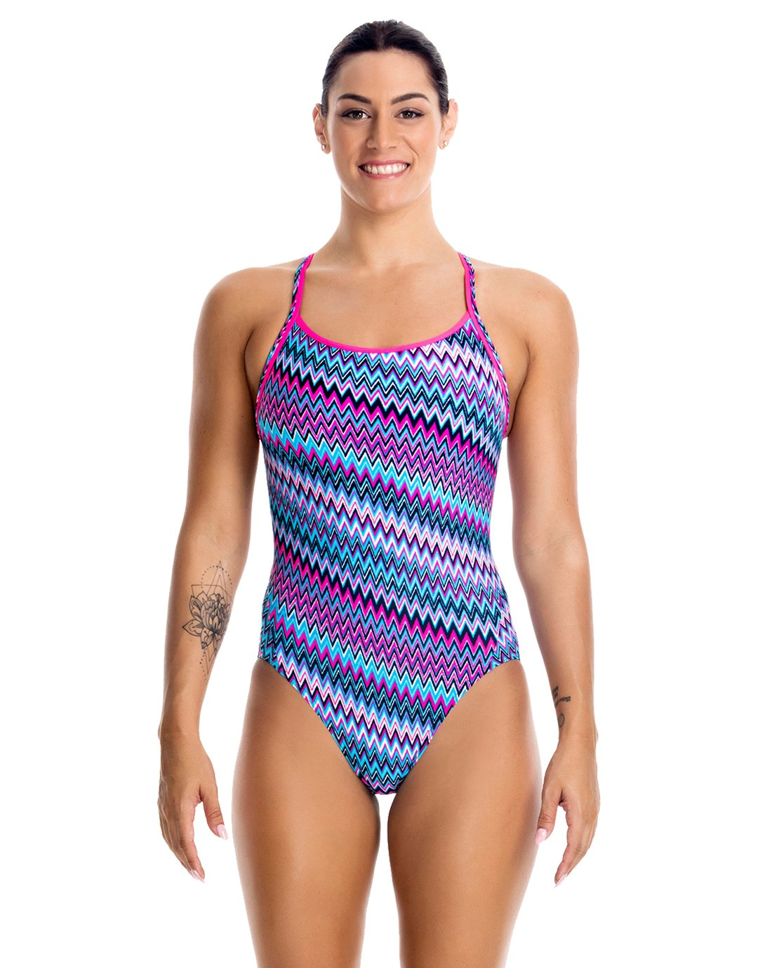 Funkita Diamond Back One Piece Swimsuit Ladies Static Attack 2017 Schwimmanzug