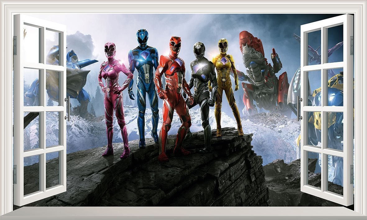 Power Rangers V801 Magic Window Wall Sticker Self Adhesive Poster Wall Art Size 1000mm wide x 600mm deep (large)