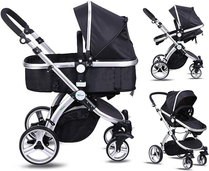 Xe đẩy trẻ em Amzdeal 2 trong 1 0-3 tuổi với ghế ngồi nghiêng và có thể điều chỉnh, xe đẩy có thể gập lại 4 bánh và xe đẩy trẻ em đi bộ, du lịch