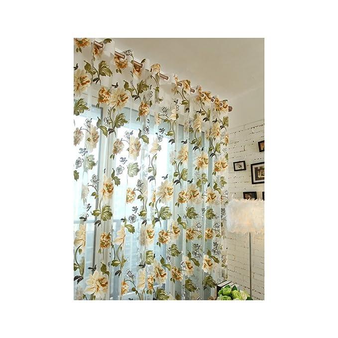 Souarts Strauchpäonie Muster Blume Transparent Gardine Vorhang Schlaufenschal Deko für Wohnzimmer Schlafzimmer Studierzimmer