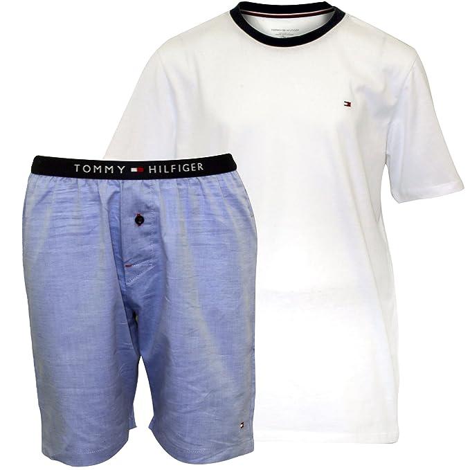 Tommy Hilfiger Jersey Camiseta Y Tejido Rayas Shorts Chicos Pijamas Set De Regalo, Blanco Y