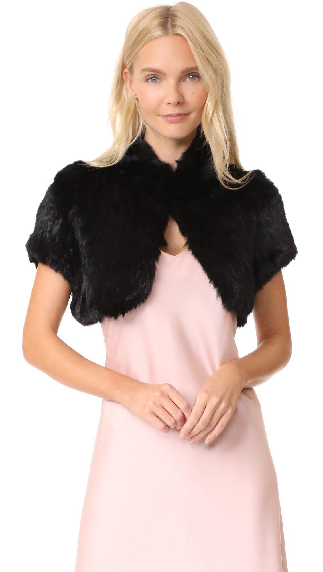 Jocelyn Women's Fur Shrug, Black, Medium