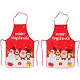 LeeLoon 2 Pack Chistmas Apron, Holiday Kitchen Apron Christmas Santa Claus/Elk/Snowman Style Decoration Apron for…