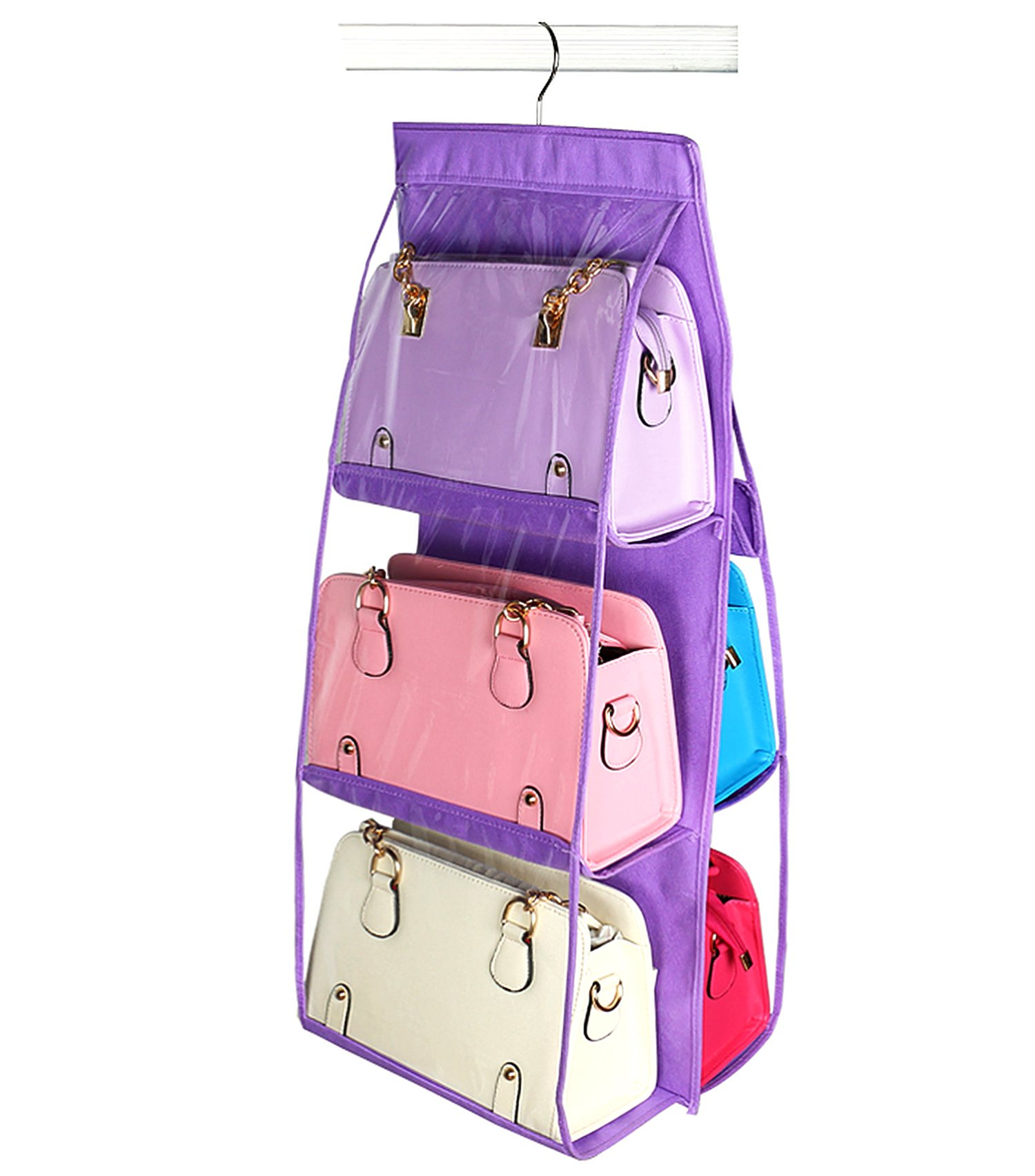 Vercord 6-Pocket Hanging Purse Handbag Tote Storage Holder Organizer Dust-proof Closet Wardrobe Hatstand Space Saver, Purple