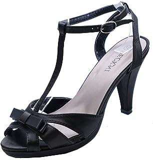 7e614be4b6 Ladies Black Satin Strappy Slip-On Peep-Toe Evening Shoes T-Bar Sandals