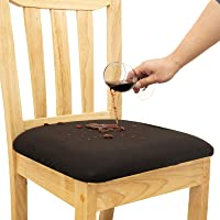 Mecerock Waterproof Chair Seat Covers for Dining Room Chairs Removable Washable Upholstered Chair Seat Protectors…
