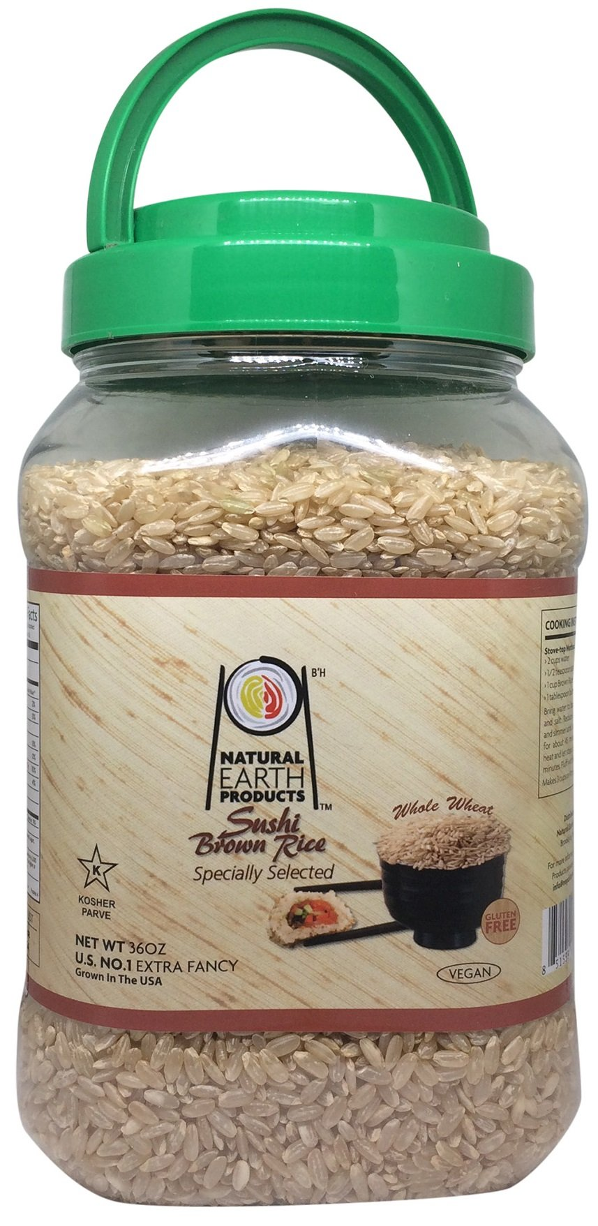 Natural Earth Sushi Brown Rice - Whole Wheat, Vegan and Gluten Free - Certified Kosher, 36 Oz.
