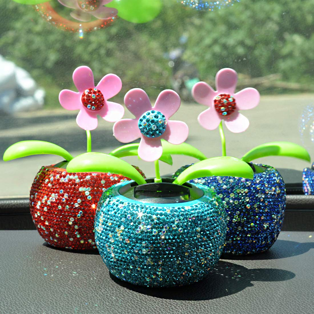 Light Blue Car Interior Decor No battery required Dotesy Bling Bling Solar Dancing Flower Crystal Decoration Gift