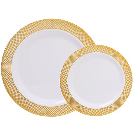 WDF 60PCS Heavyweight White with Gold Rim Wedding Party Plastic Plates,Dinnerware Sets,30-10.25inch Dinner Plates and 30-7.5inch Salad Plates (White/Gold Diamond)