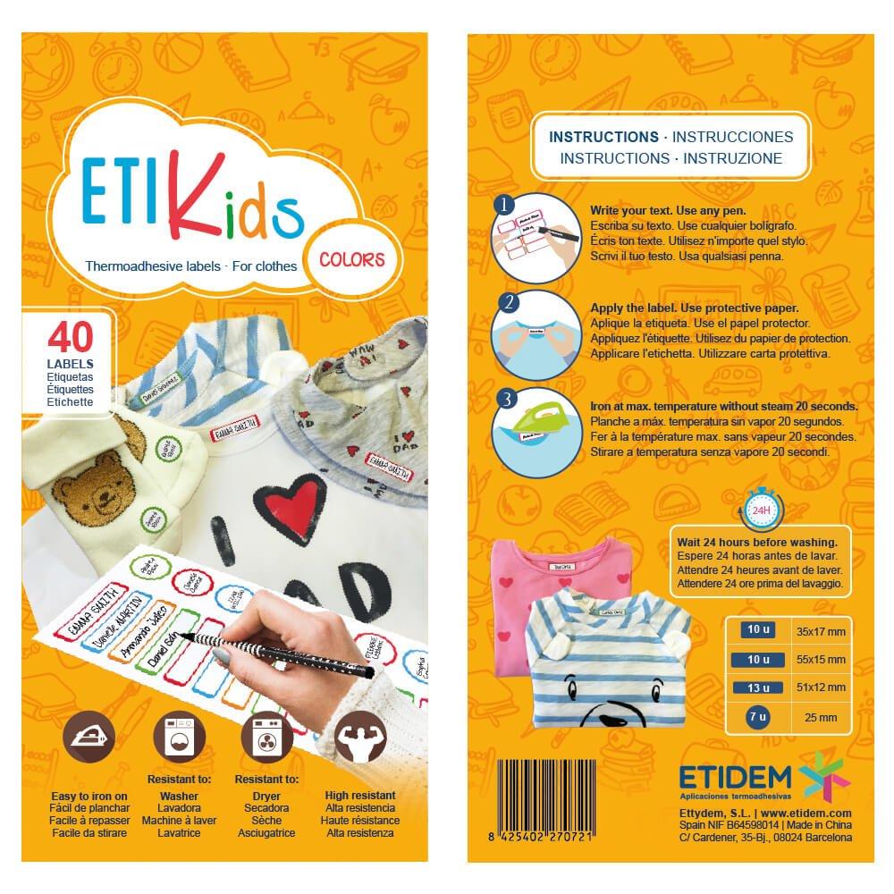 Ideali per matite in 4 formati diversi Etikids 40 Etichette adesive multiuso con lamina protettiva pennarelli e tutto il materiale scolastico. BASIC