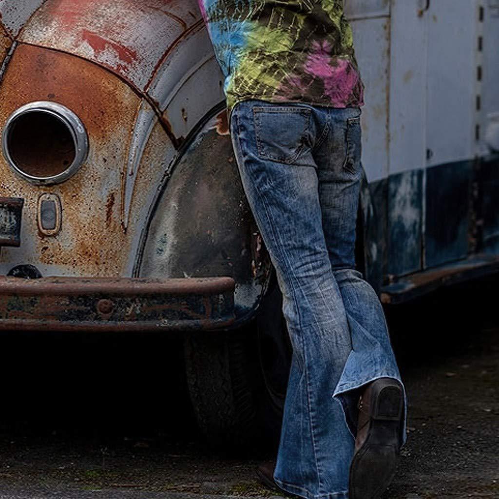 IUN Jeans Stile Hong Kong da Uomo Pantaloni Skinny con Cerniera Elasticizzata Pantaloni a Zampa Pantaloni in Denim Pantaloni Casual Jeans Classici di Moda Primavera-Estate