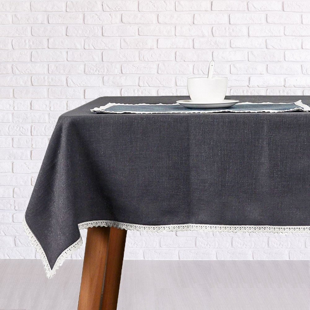 VU100 36 x 36 Square Solid Linen Tablecloth/Table Cloths/Covers with Cotton Lace, Machine Washable Wrinkle Free Easy Clean Vintage, for Coffee Card Party Everyday Table Decor (Dark Grey)