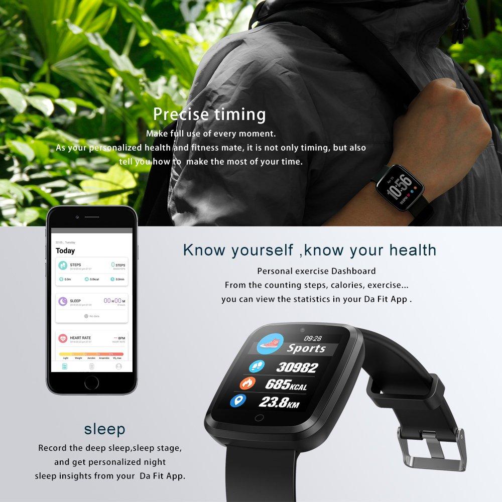 Reloj Inteligente Bluetooth 4.0, Pulsera Inteligente de Actividad Deportiva con Monitor de frecuencia Cardíaca para Android e iOS