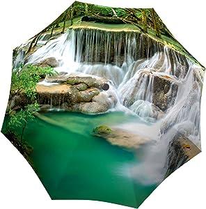 Portable Umbrella Windproof - Folding Colorful Umbrella with Sleeve - Durable Fashion Umbrella Stylish Parasol - Compact Automatic Rain Umbrella - Nature Design Green Umbrella Waterfall Thailand by LB