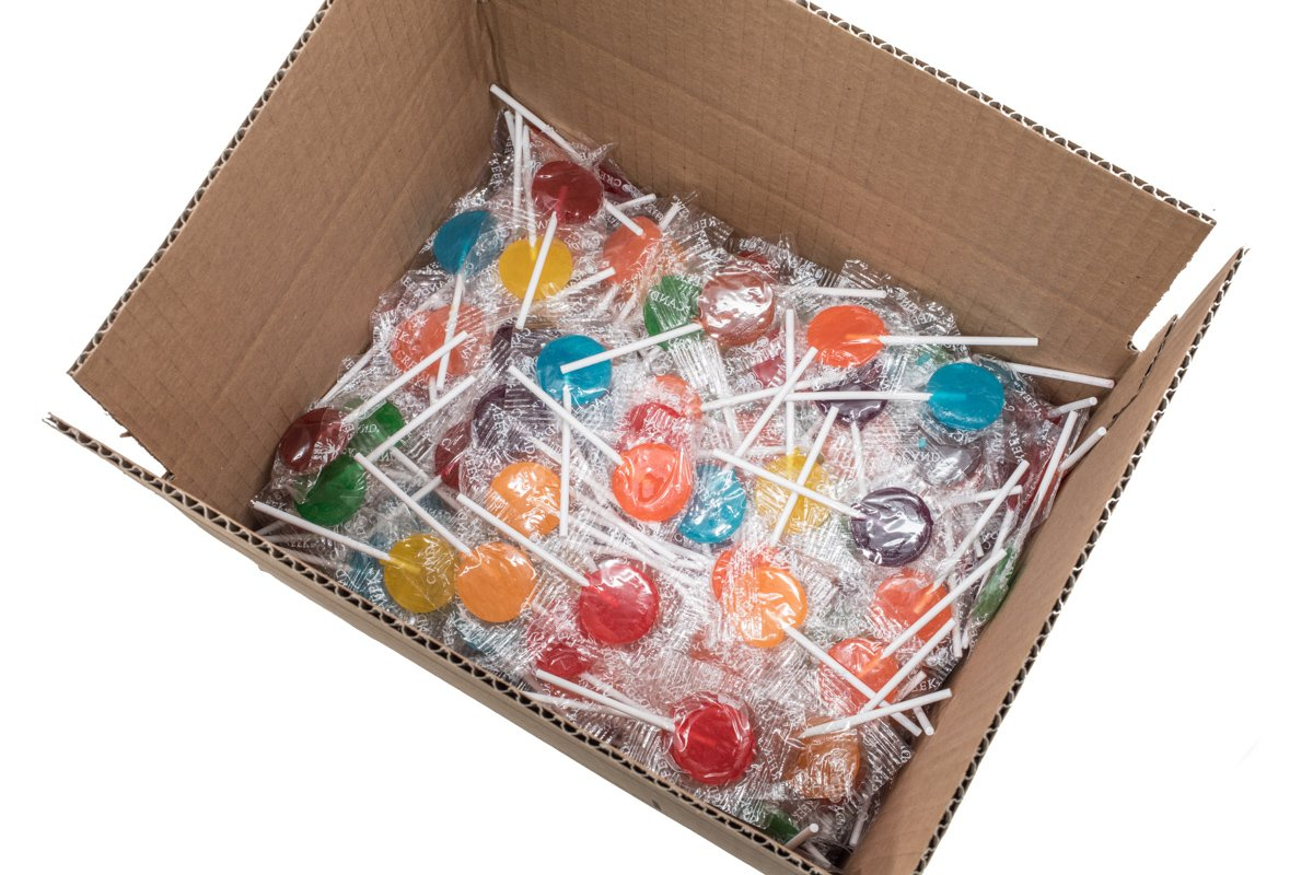 Sherwood Fruit Lollipops Box of 5 lb Assorted 8-10 Flavors Colors Bulk Box of 5 Lbs Yummy Kosher Fruity Assorted Lollipop Candy Individually Wrapped