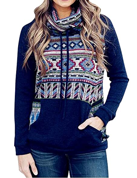 OULIU Womens Ethnic Print Turtleneck Loose Pullover Hoodie Sweater ...