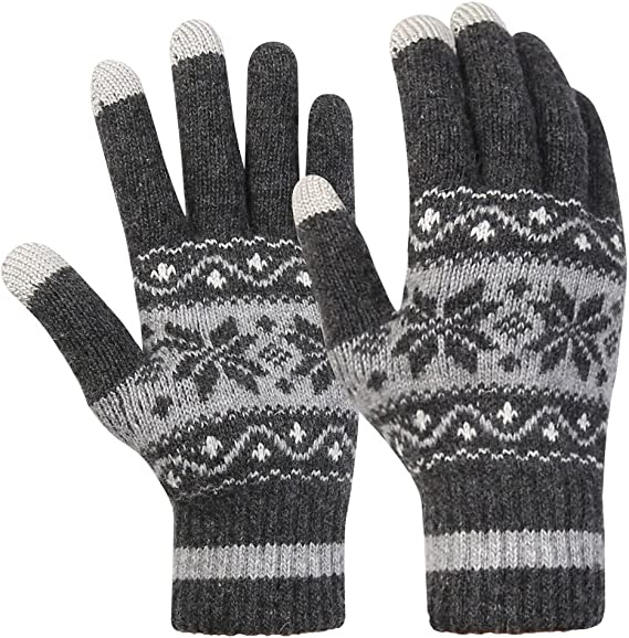 Snowflake Knitted Glove Acrylic Ladies Touch Screen Gloves Phone Gloves