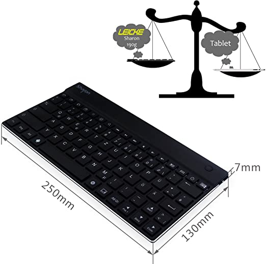 Teclado inalámbrico – Bluetooth de allumio para Samsung Galaxy Tab 3 – compatibilitá Universal para Todos los Smartphone, Tablet y eBook – Teclado con ...